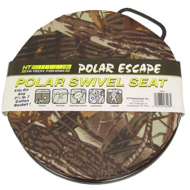 HT Polar Camo Swivel Cushioned Bucket Seat - Fits 5 or 6 Gallon Pails