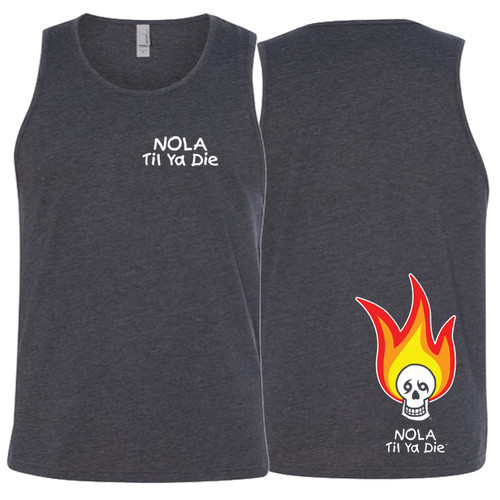 NOLA Til Ya Die Fire Unisex Tank (charcoal)