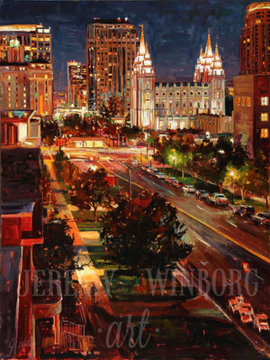 Downtown Streetscape Giclée Print