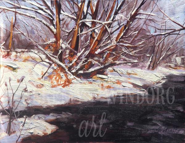 Winter Willows Original Oil Study (SOLD)