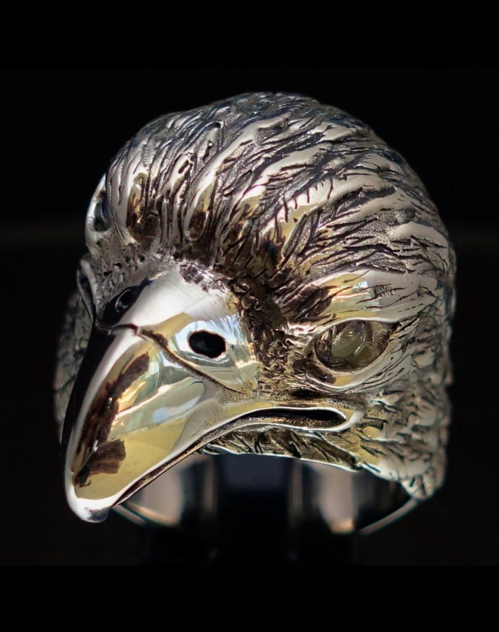 Sterling silver Eagle ring Bird of Prey with 2 Sparkling White CZ Eyes high polished 925 Sterling silver animal ring