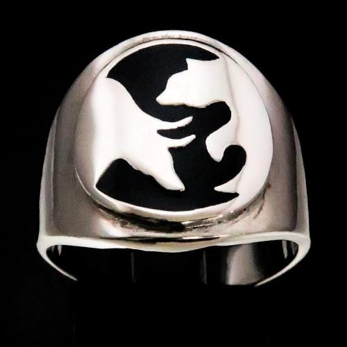 Sterling silver Trader symbol ring Wall street Bear and Bull as Yin Yang with Black enamel