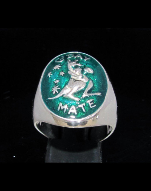 Sterling silver ring Boxing Kangaroo Australia G'Day Mate with Green enamel high polished 925 silver