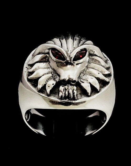 Sterling silver men's ring Alien Hunter Predator with 2 Red CZ Eyes high polished and antiqued 925 silver