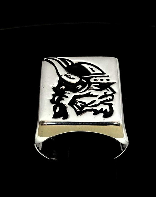 Sterling silver men's ring Viking Chief in Black enamel high polished 925 sterling silver