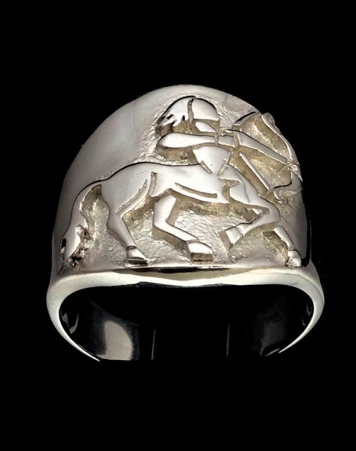 Sterling silver Sagittarius ring  Zodiac Horoscope symbol Fire Star sign high polished 925 silver