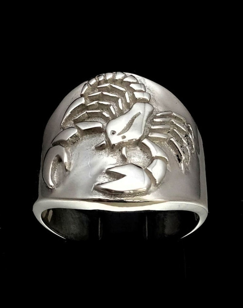 Sterling silver Scorpio ring  Zodiac Horoscope symbol Water Star sign high polished 925 silver