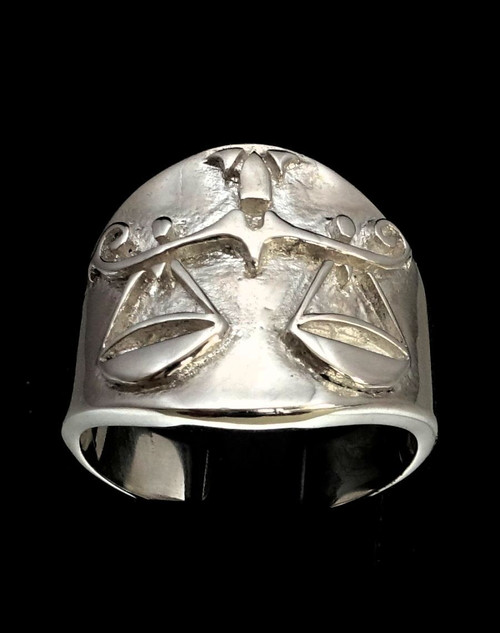 Sterling silver Libra ring Zodiac Horoscope symbol Air Star sign high polished 925 silver