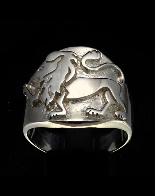 Sterling silver Leo ring Zodiac Horoscope symbol Fire Star sign high polished 925 silver