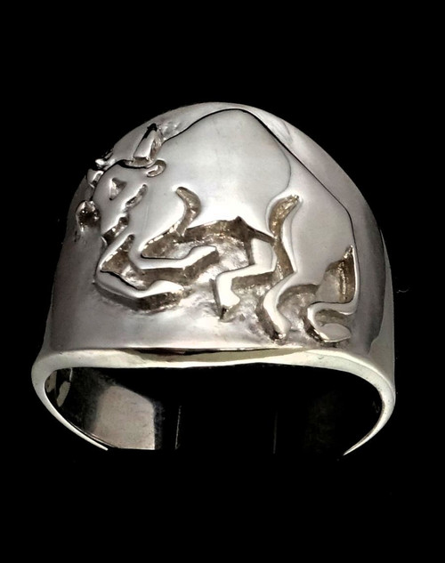 Sterling silver Taurus ring Zodiac Horoscope Bull symbol Earth Star sign high polished 925 silver