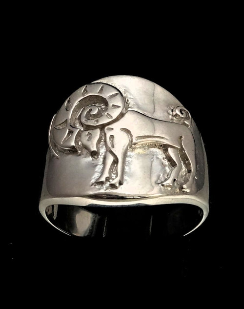 Sterling silver Aries ring Zodiac Horoscope Ram symbol Fire Star sign high polished 925 silver
