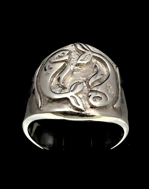 Sterling silver Pisces ring Zodiac Horoscope Fish symbol Water Star sign high polished 925 silver