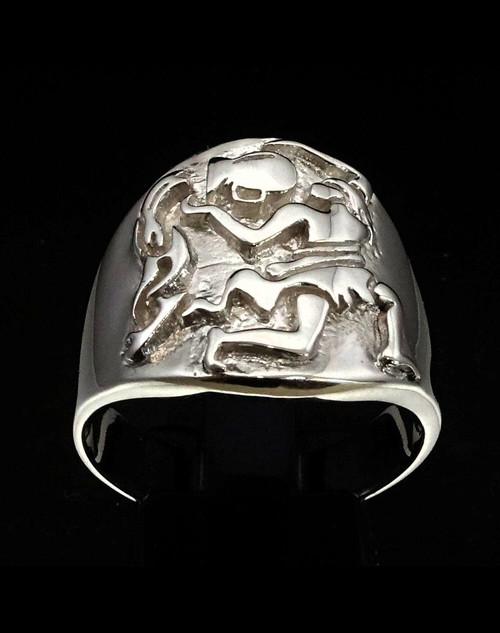 Sterling silver Aquarius ring Zodiac Horoscope symbol Air Star sign high polished 925 silver