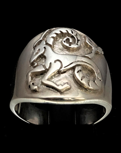 Sterling silver Capricorn ring Zodiac Horoscope Goat symbol Earth Star sign high polished 925 silver