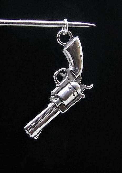 Sterling silver Handgun Pendant Wild West Cowboy Revolver Colt six shooter 925 silver