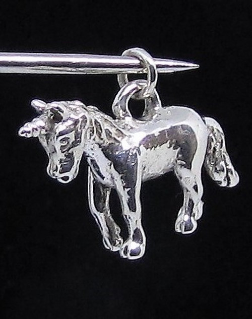 Sterling silver Pendant cute little Unicorn Fantasy animal high polished 925 silver