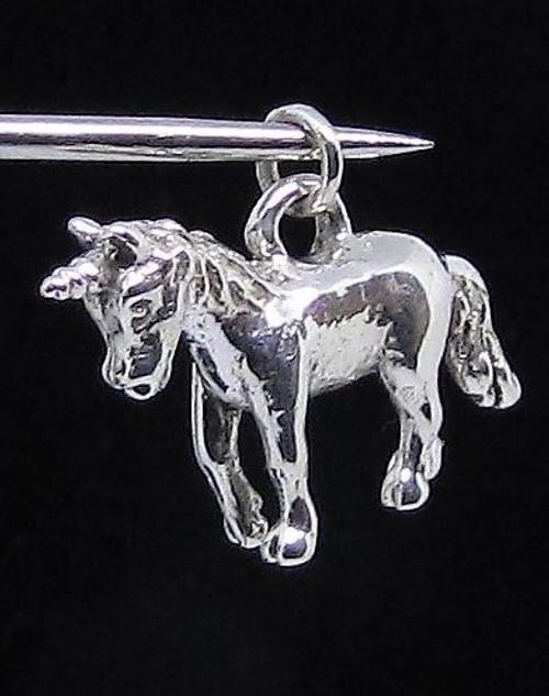 Sterling silver Pendant cute little Unicorn Fantasy animal high polished 925 silver