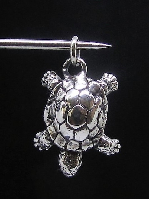 Little Sterling silver Animal Pendant Turtle cute Reptile high polished 925 silver