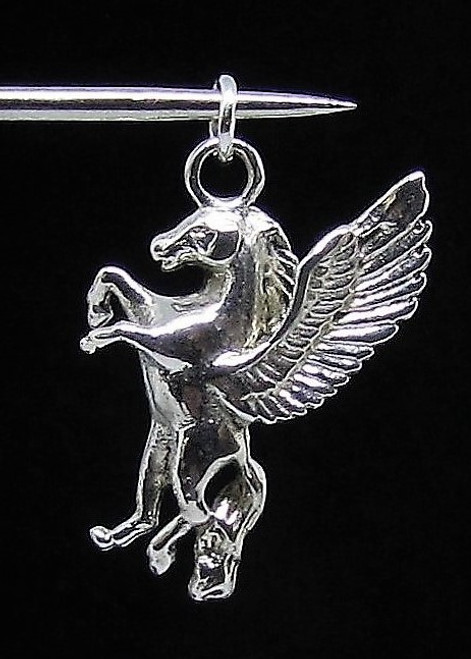Sterling silver Fantasy Animal Pendant Pegasus small Winged Horse high polished 925 silver