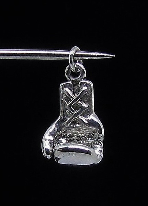 Sterling silver Pendant Little Boxing Glove Box fight sport high polished 925 silver