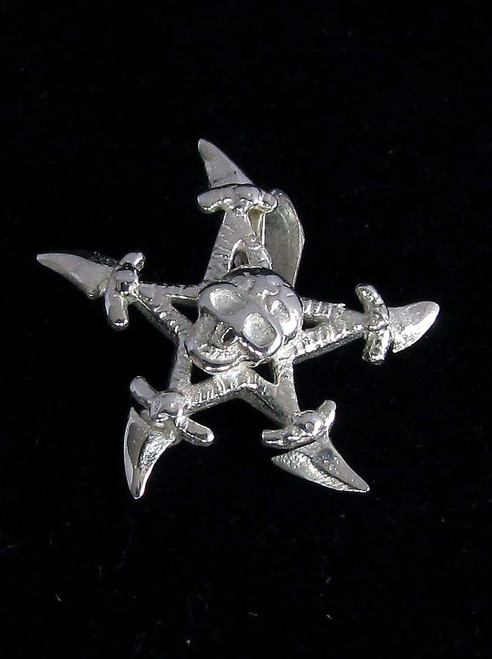 Sterling silver Shuriken Pendant Ninja Samurai star with Skull high polished 925 silver