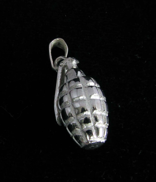 Sterling silver Hand Grenade Pendant Army soldier explosive weapon high polished 925 silver
