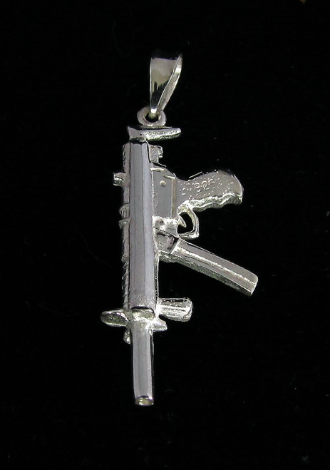 Sterling silver Kalashnikov Pendant automatic machine Gun Army Soldier weapon high polished 925 silver