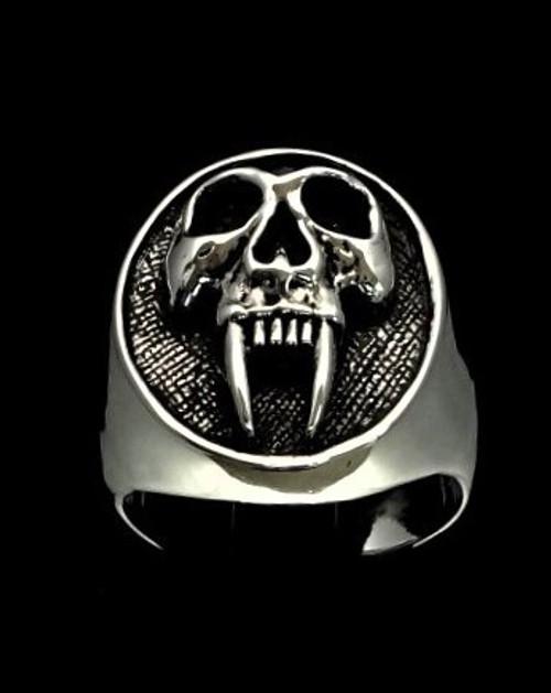 Antiqued Oval Sterling silver men's ring Big Fang Vampire Skull high polished 925 silver