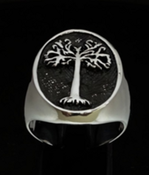 Oval Sterling silver ancient symbol ring Tree of Life high polished and antiqued 925 silver