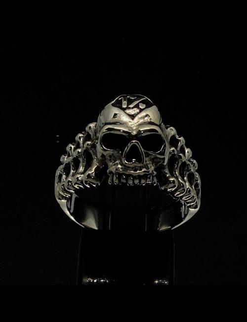 Sterling silver Biker ring 1 Percent Symbol on Evil Skeleton Skull and Bones antiqued 925 silver
