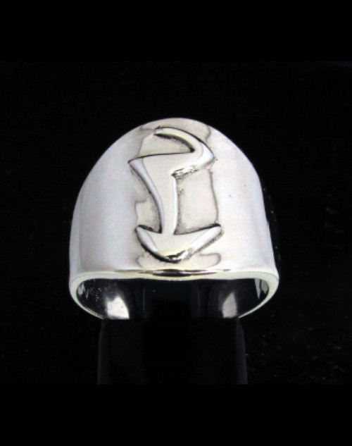 Sterling silver Daedric alphabet initial ring Tayem Elder Scrolls symbol high polished 925 silver