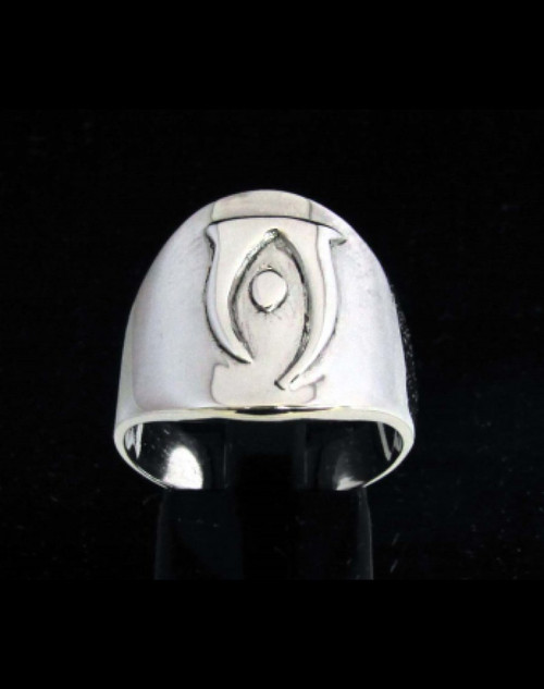 Sterling silver Daedric alphabet initial ring Oht Elder Scrolls symbol high polished 925 silver