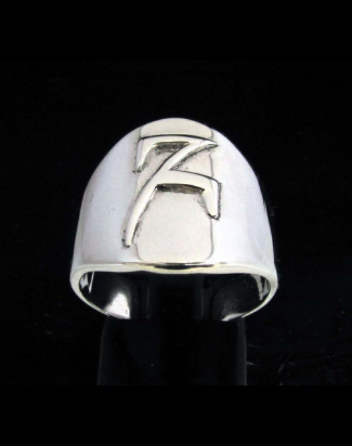 Sterling silver Daedric alphabet initial ring Hefhed Elder Scrolls symbol high polished 925 silver