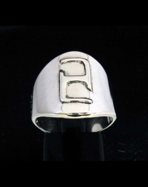 Sterling silver Daedric alphabet initial ring Ekem Elder Scrolls symbol high polished 925 silver
