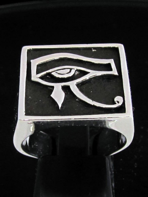 Antiqued silver Eye of Ra ring All Seeing Eye of Horus ancient Egypt symbol