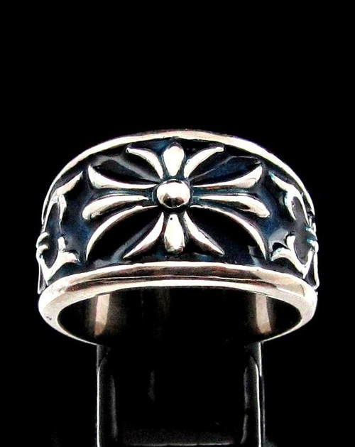 Sterling silver band ring French Lily Flower Fleur de Lis France with Blue enamel high polished 925 silver