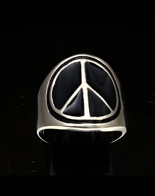 Sterling silver Peace sign ring nuclear annihilation symbol with Black enamel high polished 925 silver