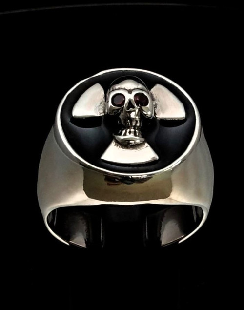 Sterling silver ring Radioactive symbol Skull with 2 Red CZ Eyes on Black enamel high polished 925 silver