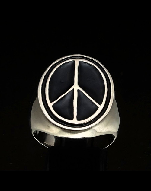 Sterling silver symbol ring Peace sign Nuclear annihilation with Black enamel high polished 925 silver