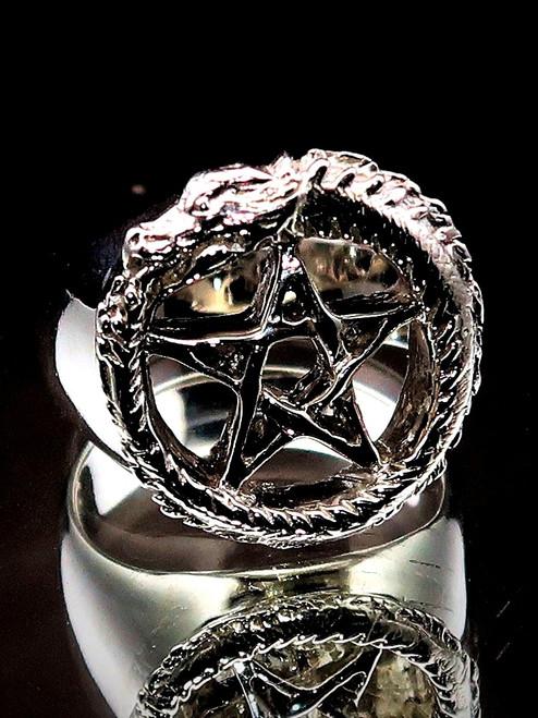 Sterling silver ancient symbol ring Ouroboros Pentagram Snake Dragon Serpent 925 silver