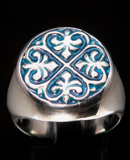 Sterling silver ring Fleur de Lis with Blue enamel high polished 925 silver