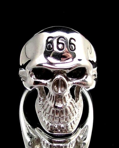Sterling silver men's ring 666 Mark of the Devil on Grinning Skull in Black enamel 925 silver