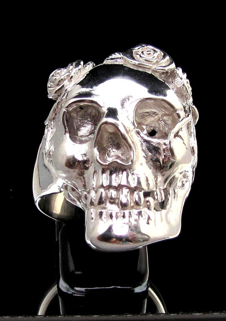 Sterling silver Skull ring Granny with Rose Flowers high polished 925 silver