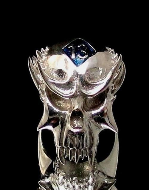 Sterling silver Skull ring 13 Outlaw Biker symbol on Vampire Skull with Blue enamel high polished 925 silver men's ring