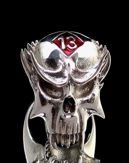 Sterling silver Skull ring 13 Outlaw Biker symbol on Vampire Skull with Red enamel high polished 925 silver men's ring