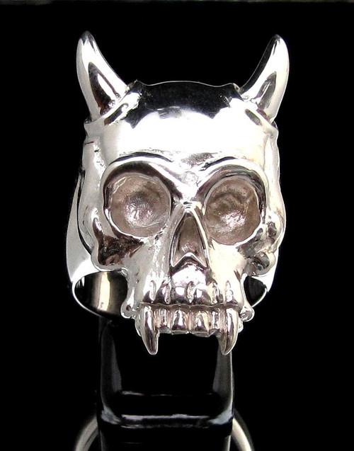 Sterling silver men's ring Horned Vampire Skull high polished 925 silver