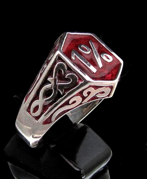 Sterling silver Biker ring 1 Percent symbol medieval with Red enamel high polished 925 silver