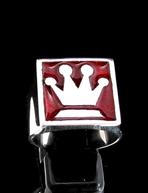 Sterling silver Chess symbol ring The Queen Medieval Crown with Red enamel 925 silver