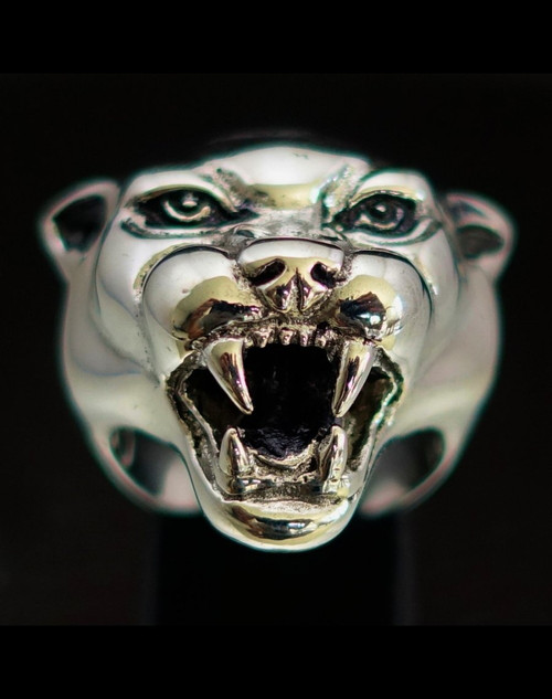Sterling silver Animal ring Panther head high polished and antiqued 925 silver