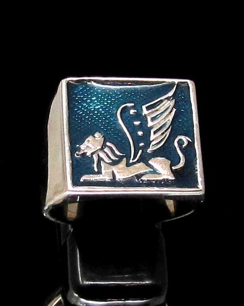 Sterling silver ancient symbol ring Winged Lion mythological creature with Blue enamel